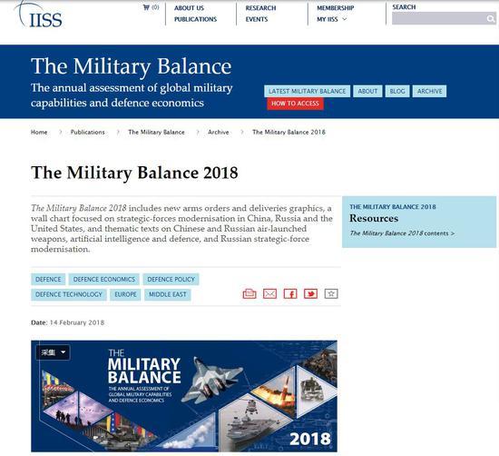 ▲国际战略研究所14日发布2018年《军事力量对比》。