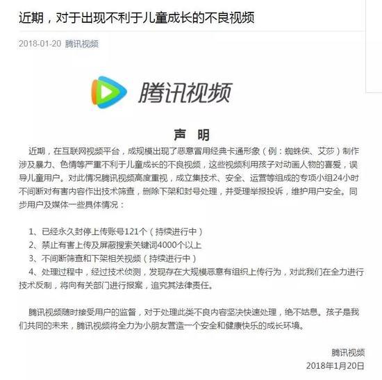 ▲腾讯视频发表声明