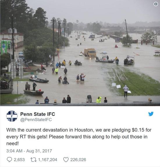 休斯顿洪灾后,这样的暖心举动也获得了广泛认可。(图片来源:CNBC)