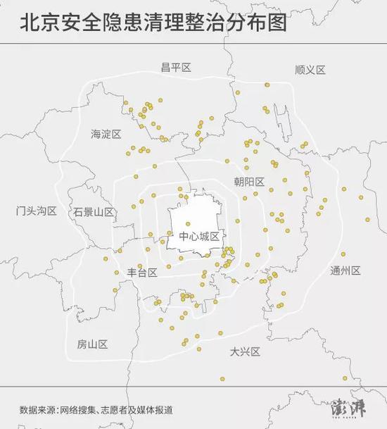 北京安全隐患清理整治分布图(共135处)。制图 鱼禾