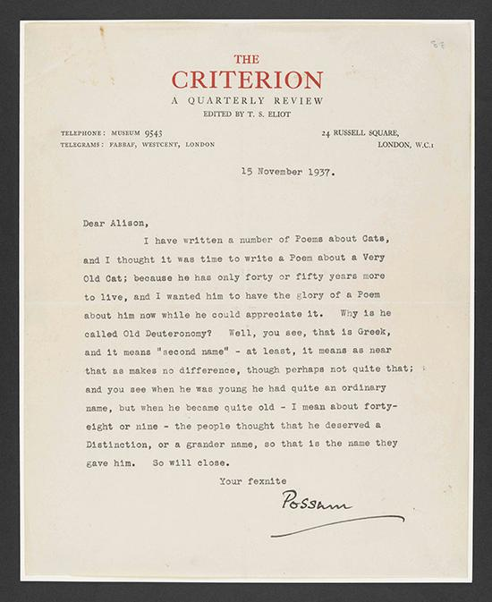 "T.S。艾略特写给艾利森·坦迪的亲笔信,信的日期为1937年11月15日,大英图书馆藏:Add MS 71002 f 88r。这封信收录在""T.S。 艾略特与坦迪家族成员的书信,包括《擅长装扮的老猫经》中的诗作草稿,1936年至 1940年 "" 中。大英图书馆藏:Add MS 71002, Add MS 71003 图来片源:© Faber & Faber Ltd。 and the Estate of T.S。 Eliot"