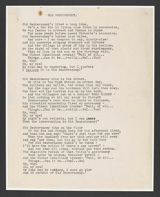 《老戒律伯》一诗的草稿,T.S。艾略特作,夹在艾略特写给艾利森•坦迪的信中,信的日期为1938年11月15日。大英图书馆藏:Add MS 71002, f 89r 图来片源:© Faber & Faber Ltd。 and the Estate of T.S。 Eliot