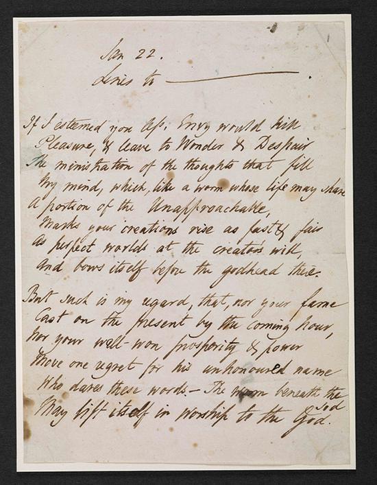《致拜伦的十四行诗》手稿,珀西∙比希∙雪莱作,约1821年至1822年。大英图书馆藏:Zweig MS 188图来片源:© British Library Board