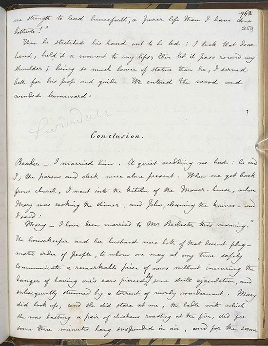《简·爱》的结尾。《简·爱》创作手稿誊写本,第三册,夏洛蒂·勃朗特作,1847年。大英图书馆藏: Add MS 43476, f 259r 图来片源:© British Library Board