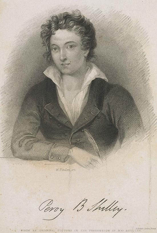 珀西·比希·雪莱肖像,《珀西·比希·雪莱诗选》卷首插图。《珀西·比希∙雪莱诗选》,玛丽·雪莱编(伦敦:E。莫克森出版社,1839年)。大英图书馆藏:W69198 DSC 图片来源:© British Library Board