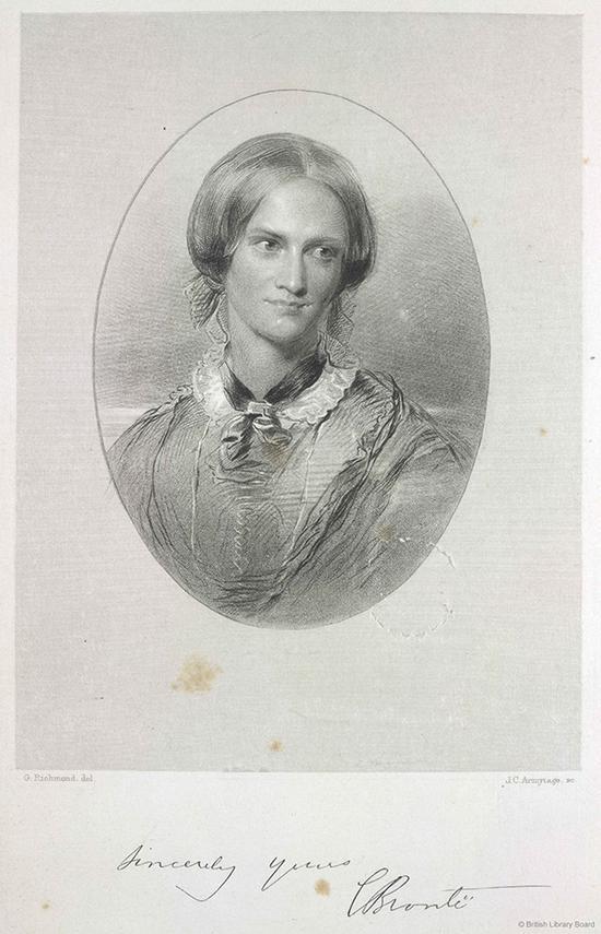 夏洛蒂∙勃朗特肖像,J。 C。 阿米蒂奇仿照乔治•里士满的画作所刻,由史密斯与埃尔德出版公司出版,伦敦,1857年,选自《F。 J。 斯坦福思所作英国女诗人肖像版画集》。大英图书馆藏:1876.f.22 图片来源:© British Library Board