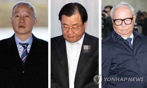 左起依次为前韩国国家情报院院长南在俊、李丙琪、李炳浩。(韩联社)
