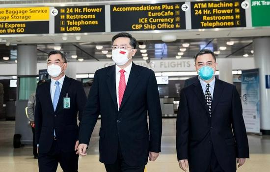 中国新任驻美大使秦刚抵达美国履新图片