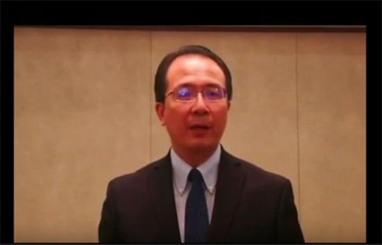 中国驻芝加哥总领事馆总领事洪磊视频发言。 视频截图