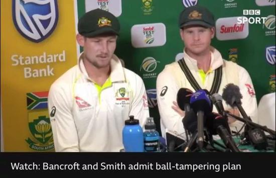 ▲澳大利亚板球队队长史密斯(上图右)和球手班克罗夫特承认作弊