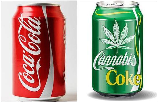 """左为传统的可口可乐,右为网民创作的""""大麻可乐""""。图自推特"""