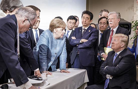 德国总理默克尔发布的G7峰会照片