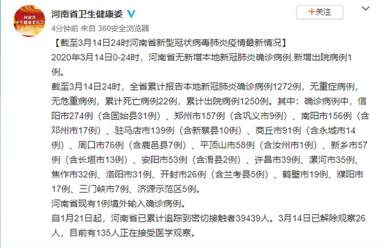 截至3月14日24时河南省新型冠状病毒肺炎疫情最新情况