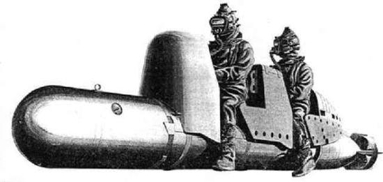 """资料图片:二战意大利海军""""猪猡""""人控鱼雷。(图片来源于网络)"""
