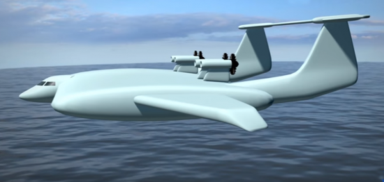 """资料图片:俄海军""""奥兰""""新型地效飞行器想象图。(图片来源于网络)"""