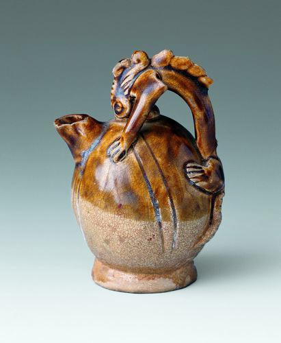 铜官陶瓷——青褐釉龙柄