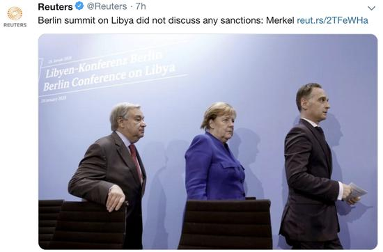 当地时间19日,德国总理默克尔指出,利比亚问题峰会没有讨论任何制裁措施。推特截图