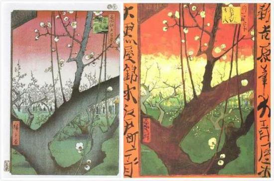 左:歌川廣重《龜戶梅屋鋪》 右:梵高《日本情趣:梅花》