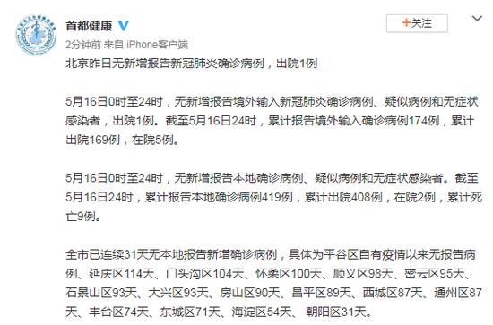 北京16日无新增报告新冠肺炎确诊病例,出院1例图片