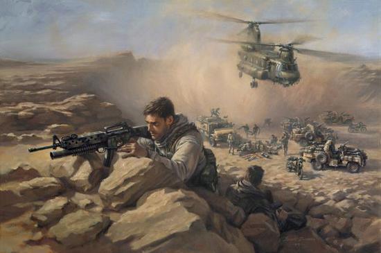 资料图片:艺术家绘制的英军SAS在阿富汗作战油画。(图片来源于网络)