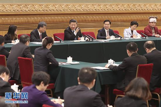 3月7日,习近平参加十三届全国人大一次会议广东代表团的审议。 (图片来源:新华社)