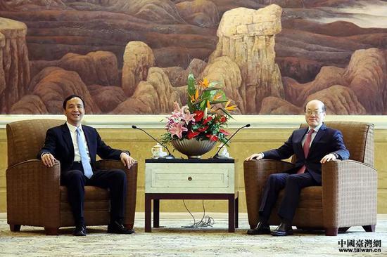 ▲刘结一在上海会见了新北市市长朱立伦一行。(中国台湾网)