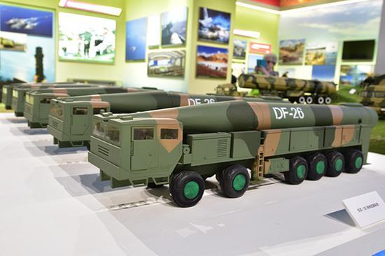 东风-26导弹武器系统模型。视觉中国 资料图