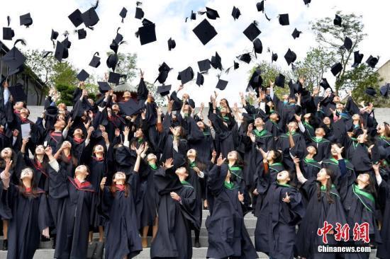 图为硕士研究生欢庆毕业。中新社记者 陈文 摄