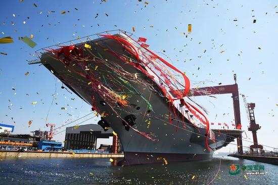 ▲资料图片:2017年4月26日,中国首艘国产航母下水。