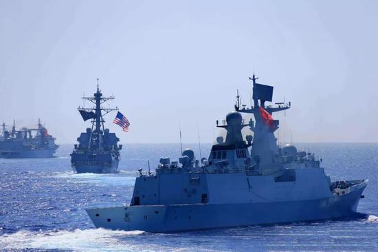 ▲资料图片:参加2016年环太军演的中国海军舰艇