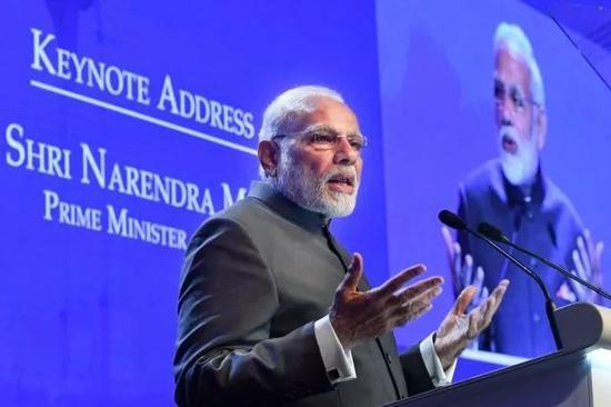 ▲6月1日开幕的第17届香格里拉对话会开幕式上,印度总理莫迪发表主旨演讲