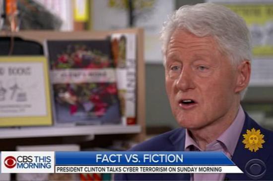 前任美国总统克林顿接受美媒专访。(图片来源:CBS截图)