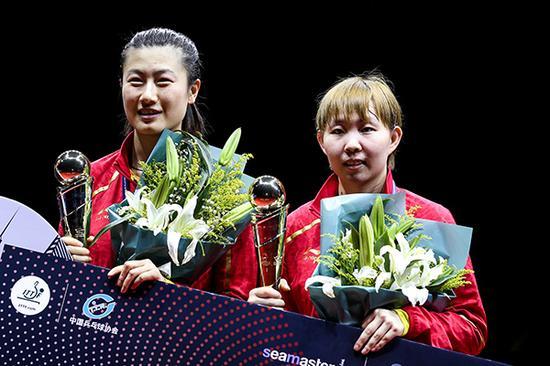 丁宁和朱雨玲隔3年配对,同样收获冠军。