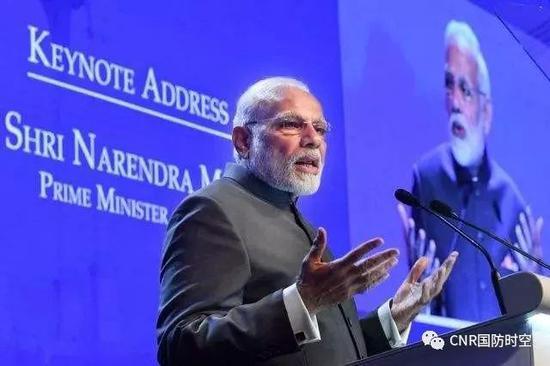 6月1日开幕的第17届香格里拉对话会开幕式上,印度总理莫迪发表主旨演讲