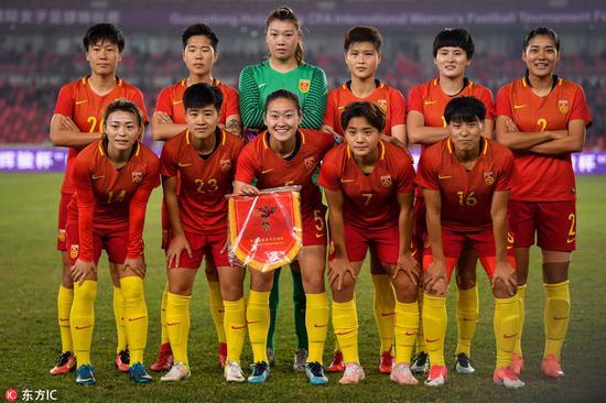 2018年1月23日,广东佛山,2018中国女足四国邀请赛,中国2-0哥伦比亚。中国女足首发合影@东方IC