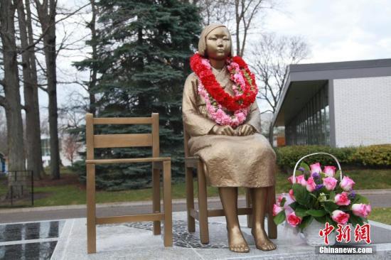 資料圖片:慰安婦少女銅像。  中新社記者 徐長安 攝