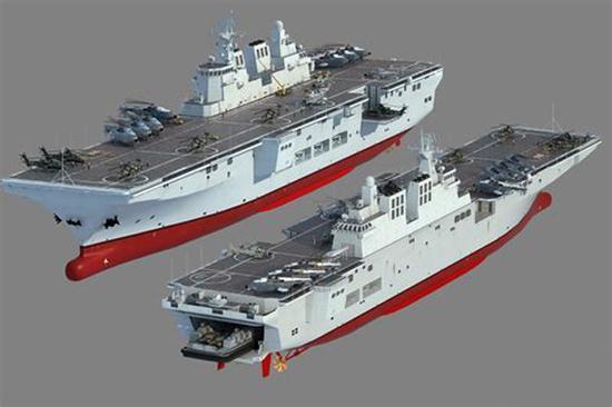 资料图片:专业军迷制作的中国075型两栖攻击舰想象图。(图片来源于网络)