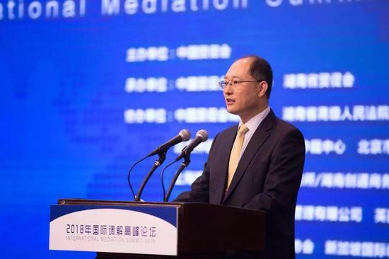 中国贸促会副会长卢鹏起在论坛中致辞