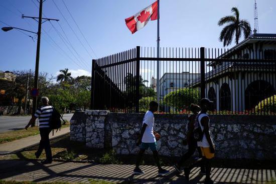 当地时间2018年4月16日,古巴哈瓦那,加拿大驻古巴大使馆。 (来源:视觉中国)