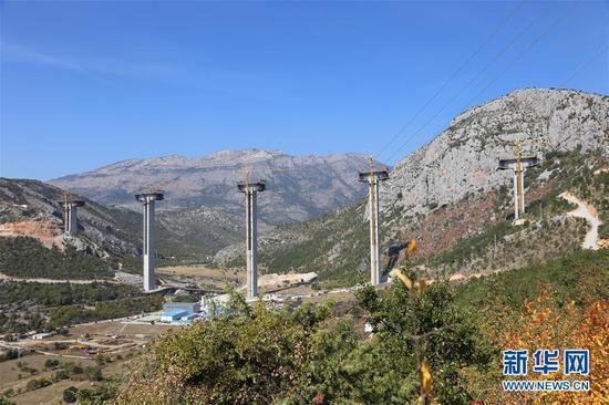 这是2018年9月22日拍摄的南北高速公路项目第三段——斯莫科瓦茨-马泰舍沃段的莫拉契查大桥施工现场。南北高速公路是黑山第一条高速公路,根据黑山政府规划,全长41公里的斯莫科瓦茨-马泰舍沃段优先建设,由中国公司承建。新华社记者 王慧娟 摄