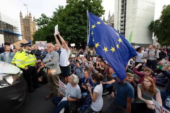 8月28日,正在英国伦敦,人们正在议会年夜厦中抗议。新华社收(雷伊·唐摄)
