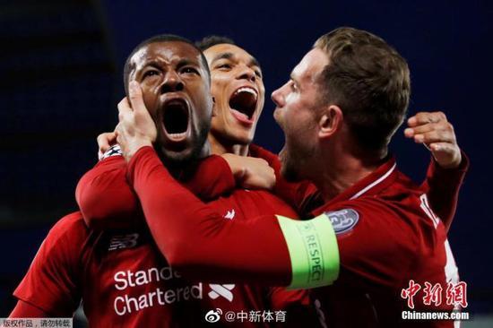 资料图:利物浦球员庆祝