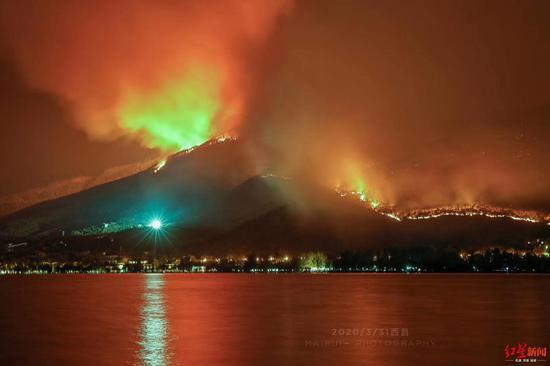 西昌山火,泸山一侧