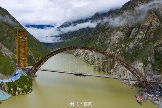 超硬核!世界跨度最大铁路钢管混凝土拱桥合龙图片