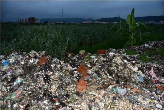 汕头市潮阳区农田内焚烧生活垃圾和电子废物