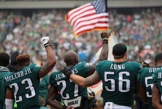 NFL跪姿抗议。
