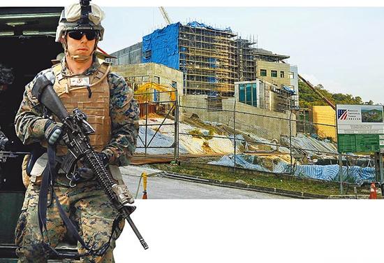 """图:前AIT台湾办事处处长杨苏棣的话让一些台媒畅想""""美海军陆战队进驻AIT"""""""