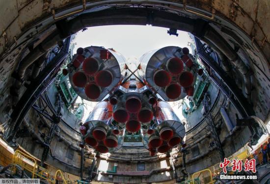 """""""聯盟號""""MS-09飛船發射準備工作正在拜科努爾航天中心進行。"""