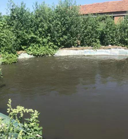 督察组监察人员在黑臭水体上发现了一个排水闸正咕隆咕隆往外直冒黑水。