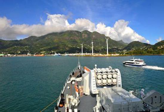 資料圖片:中國海軍艦艇訪問塞舌爾。(圖片來源於網絡)